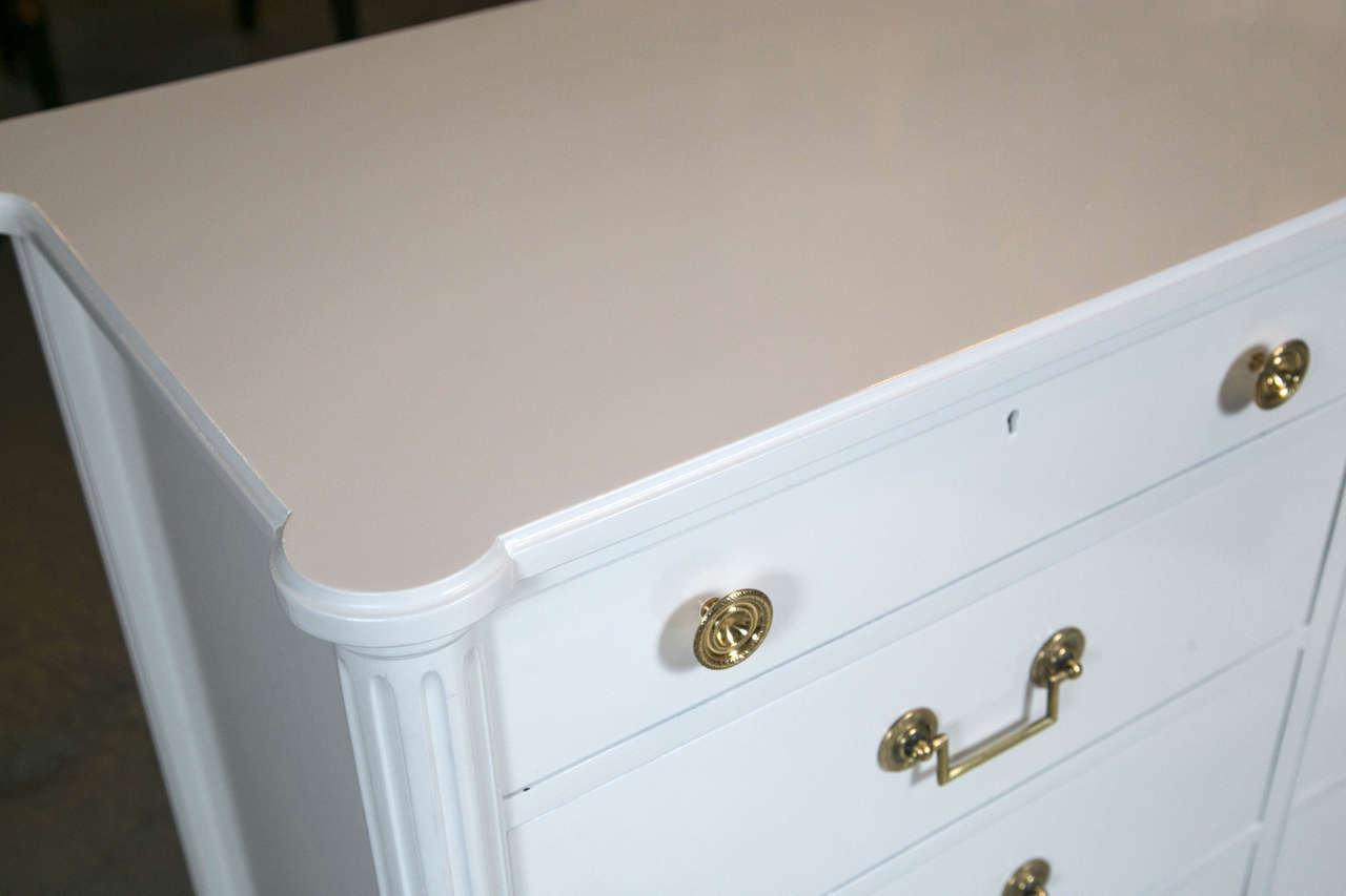 Hollywood Regency Louis XVI Style White Lacquered Triple Dresser Commode