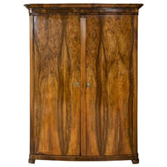 Rare Very Fine 19th Century Swedish Biedermeier Ash-Wood Armoire Chest Bow Front
