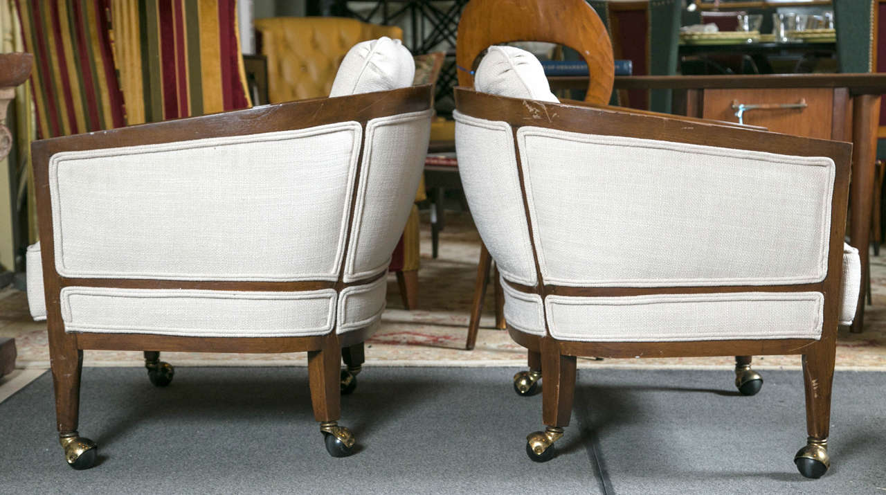 Mid Century Modern Pair Of Fine Custom Quality Barrel Back Club Chairs