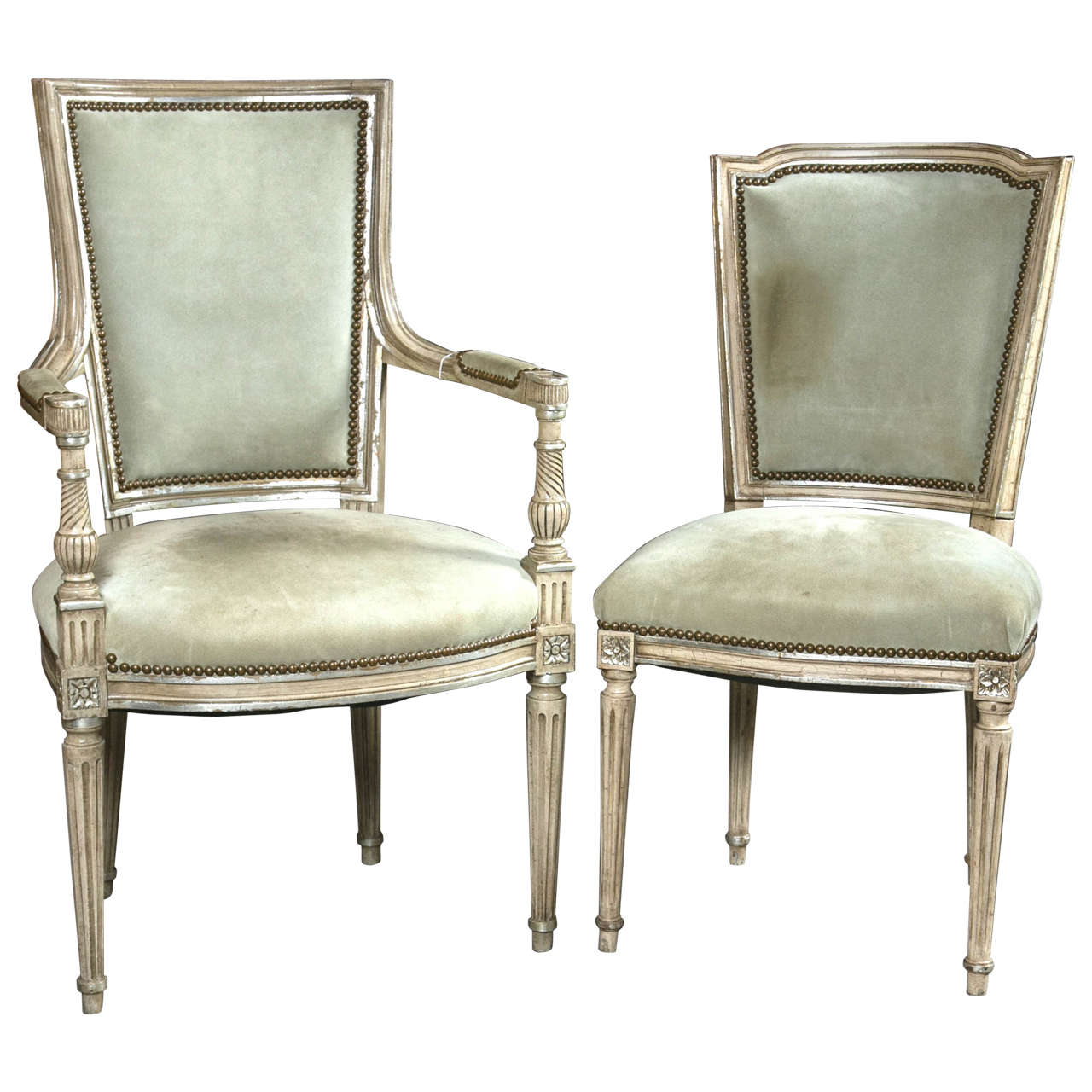Set of Eight French Maison Jansen Louis XVI Style Dining Chairs at ...