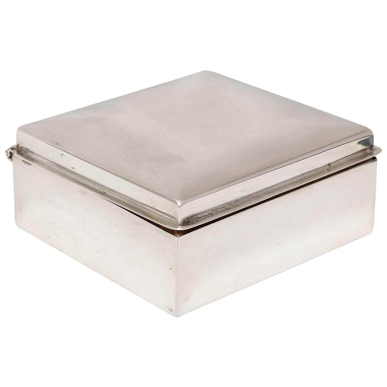 Art Deco Sterling Silver Table Box with Hinged Lid