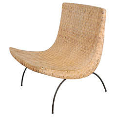 Milo Baughman Style Scoop Chair