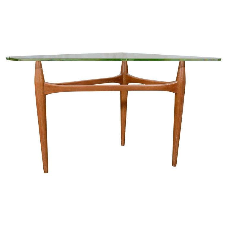 1960s Italian Walnut Tripod End Table 1
