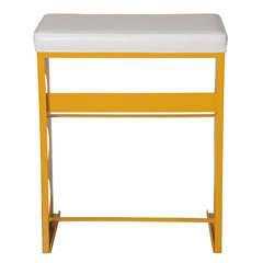Leather and Painted Steel Bar Stool