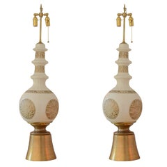 Pair of Tall Ivory Crackle Glazed Lamps with Medallion Detail on Giltwood Base