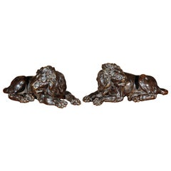 19th Century, French Tabletop Bronze Lions