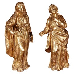 19th Century, Robed, Italian Giltwood Figures