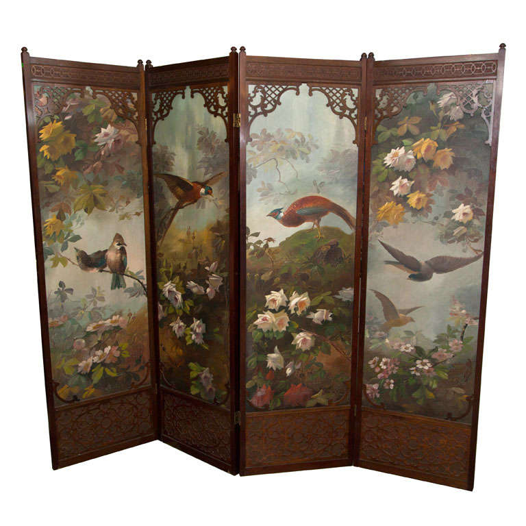 Four Panel  Painted  Folding Screen