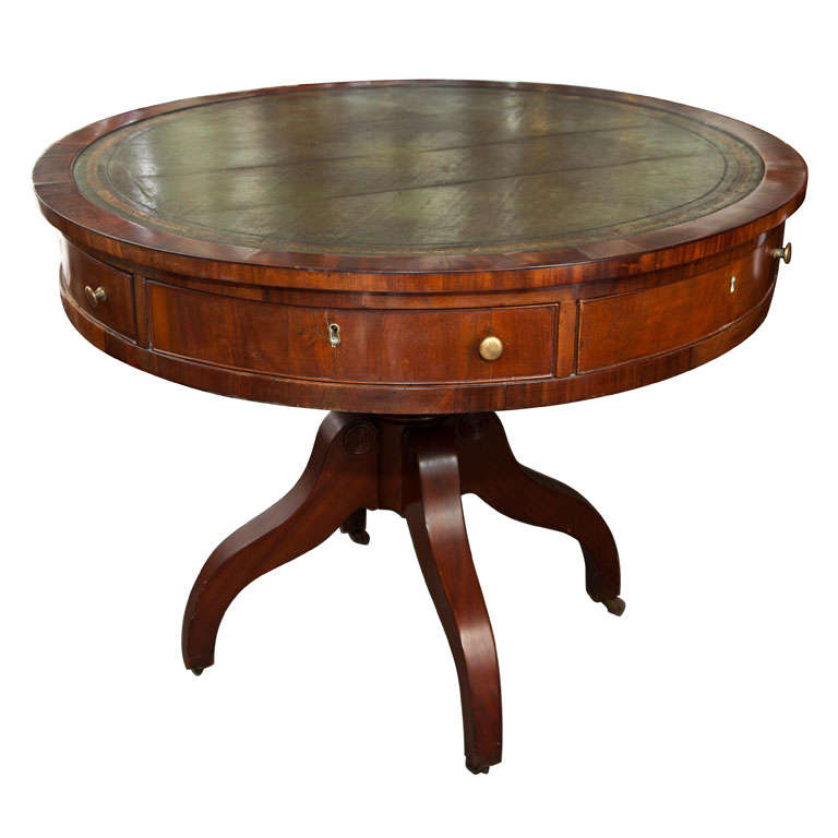 Leather Top Revolving Drum Table For Sale