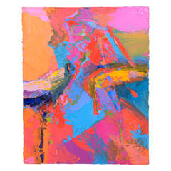 """Abstract Expressionist Painting by Jean Sampson; """"Pushing Color"""""""