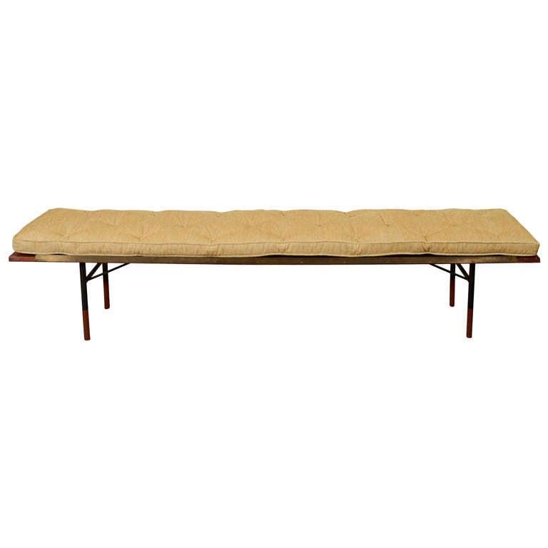 mid century danish modern long bench gold tone cushion at 1stdibs