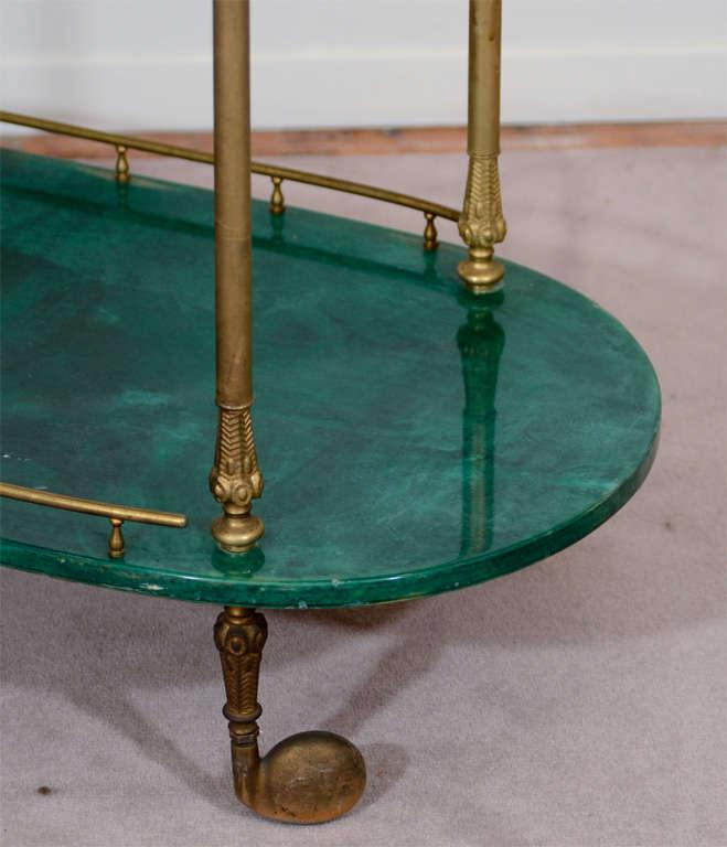 Italian Mid Century Green Lacquered Goatskin Bar Cart by Aldo Tura
