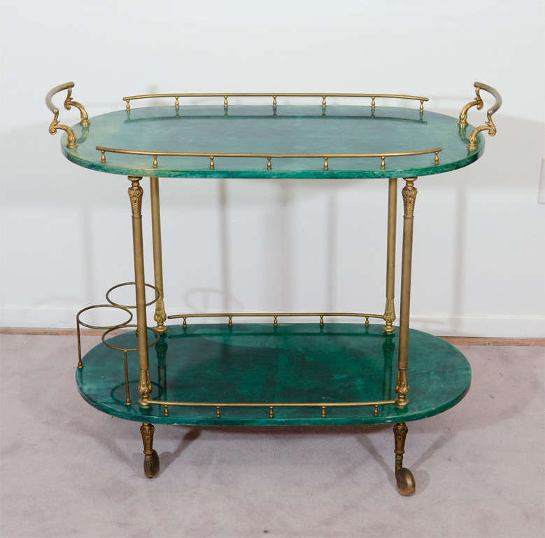 Mid Century Green Lacquered Goatskin Bar Cart by Aldo Tura In Good Condition In New York, NY