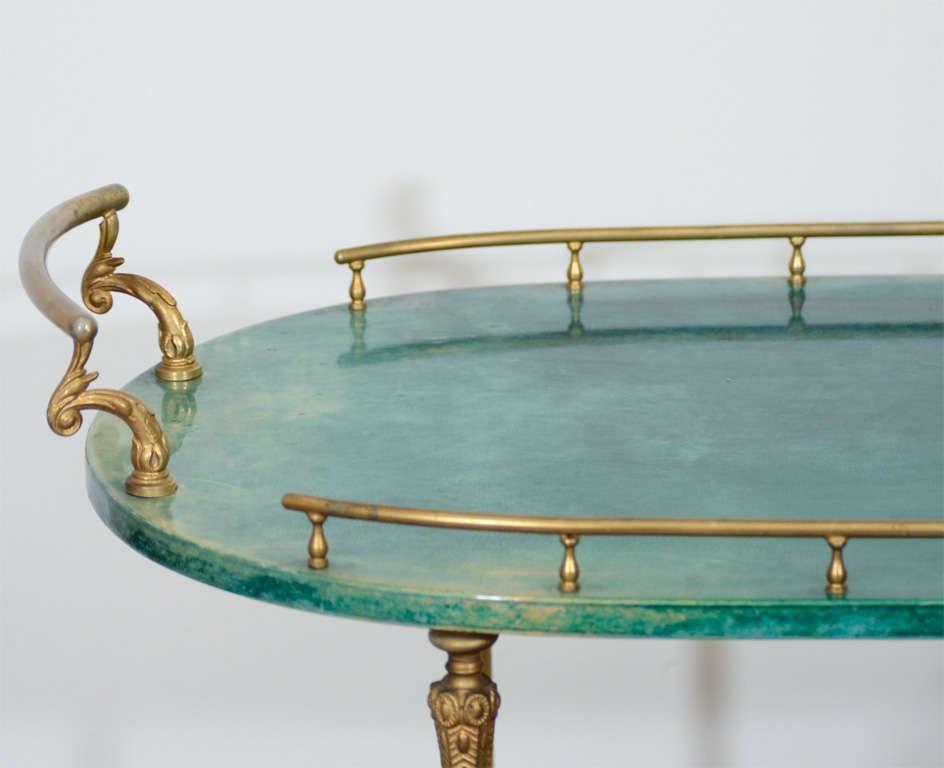 20th Century Mid Century Green Lacquered Goatskin Bar Cart by Aldo Tura