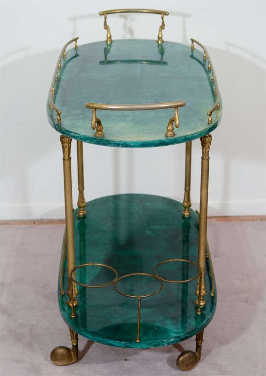 Mid Century Green Lacquered Goatskin Bar Cart by Aldo Tura 1