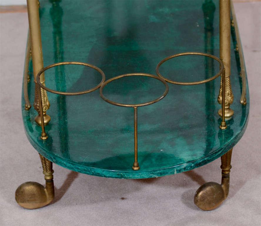 Mid Century Green Lacquered Goatskin Bar Cart by Aldo Tura 2