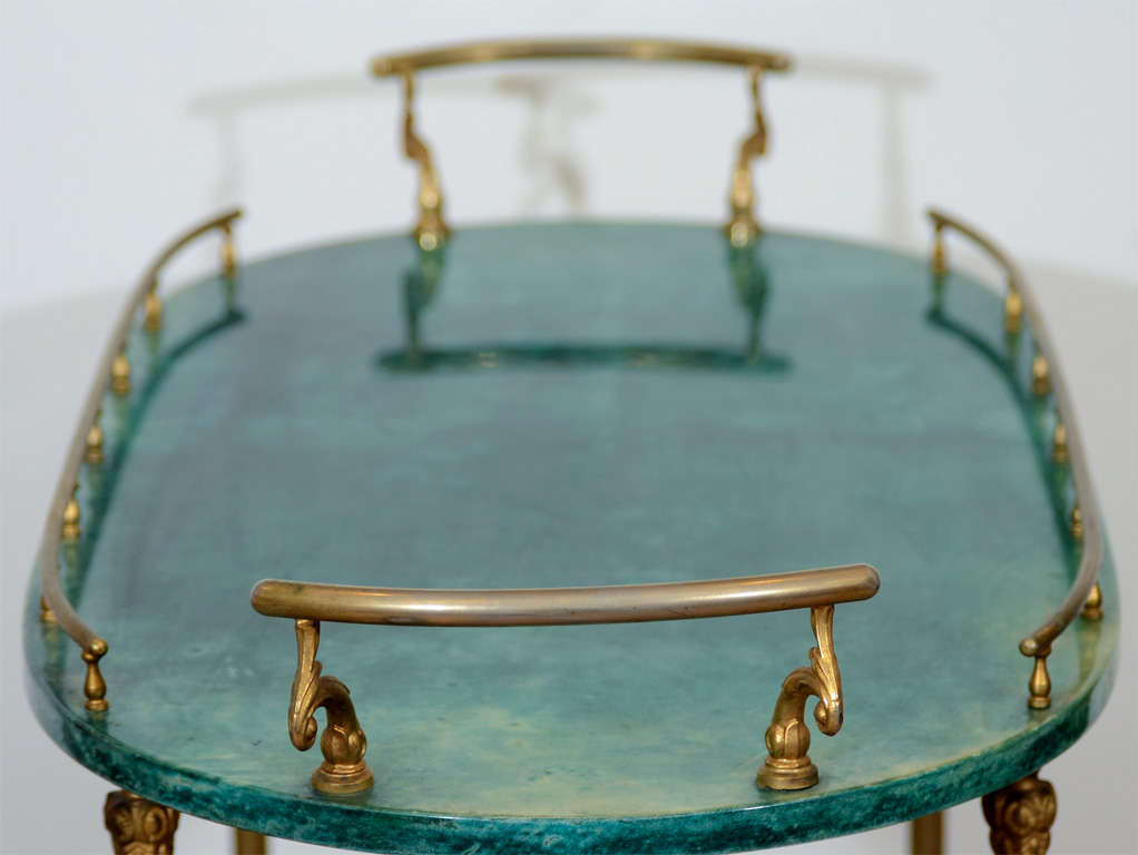 Mid Century Green Lacquered Goatskin Bar Cart by Aldo Tura 3