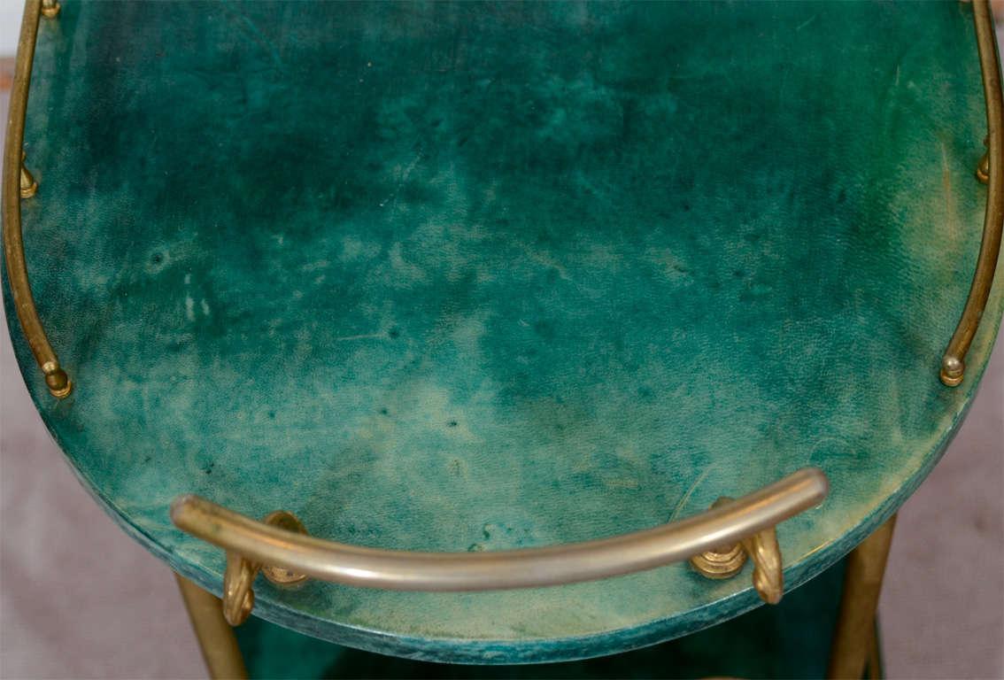 Mid Century Green Lacquered Goatskin Bar Cart by Aldo Tura 5