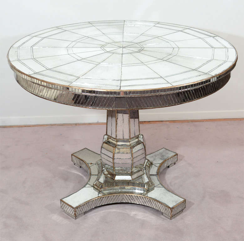 Vintage pedestal base mirrored dining table w two leaves at 1stdibs