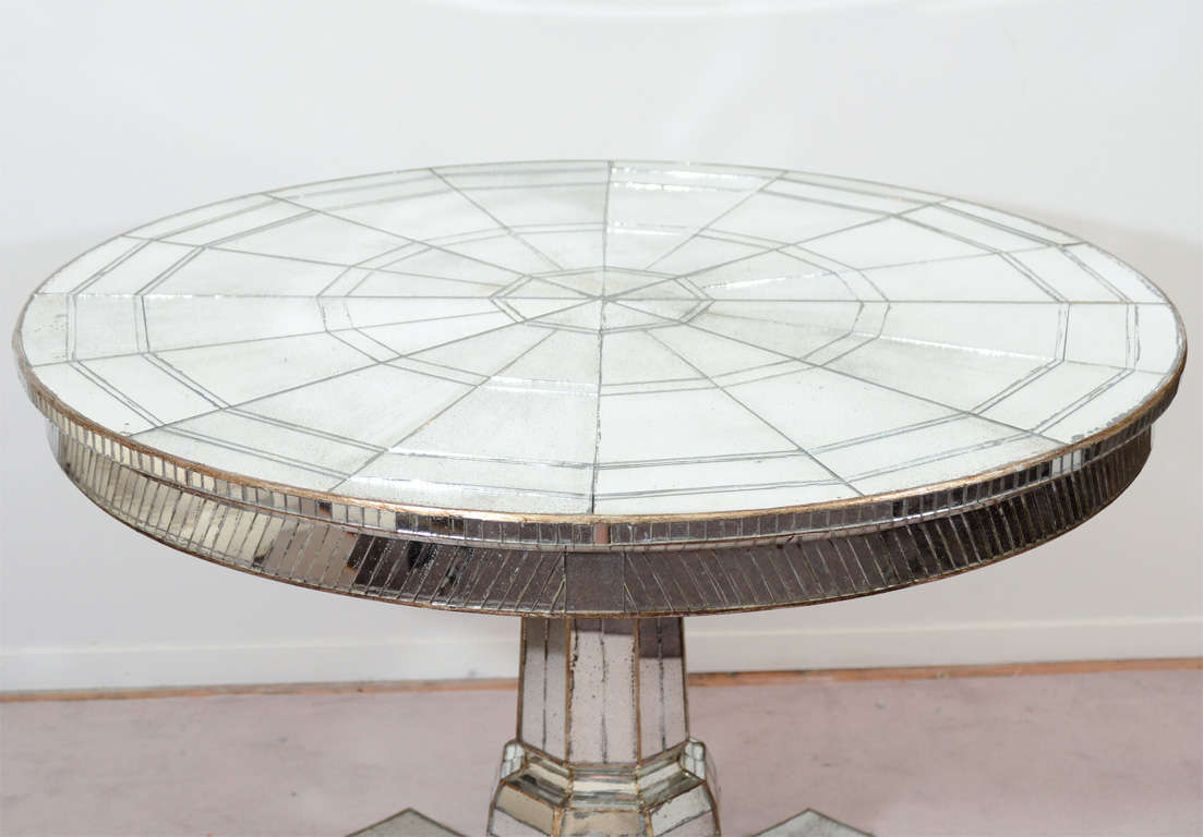 Vintage pedestal base mirrored dining table w two leaves at 1stdibs - Pedestal base for dining table ...