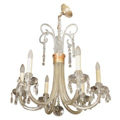 Mid Century Italian Glass Chandelier with Brass Detailing