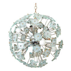 Mid Century Sputnik Style Chandelier with Glass Accents