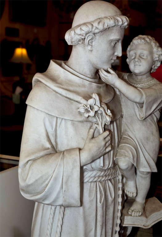 Large Life Size Statue Antique Italian Marble Saint