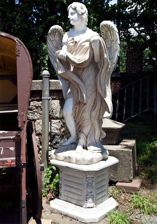 Set Of Four Marble Angel Statues On Bases For Sale At 1stdibs