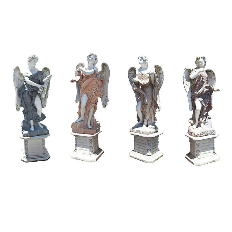 Set of Four Marble Angel Statues on Bases For Sale