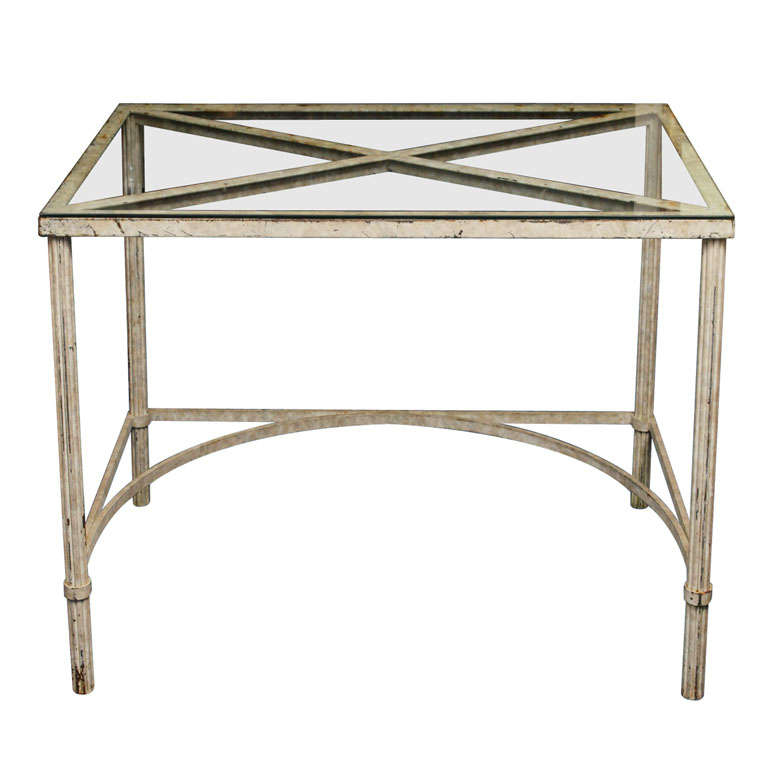 Distressed Painted Metal And Glass Desk Table At 1stdibs