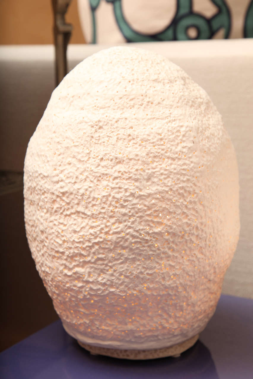 Gorgeous paper porcelain lamp with organic lines makes this lighting piece very unique. The lighting is soft and warm.