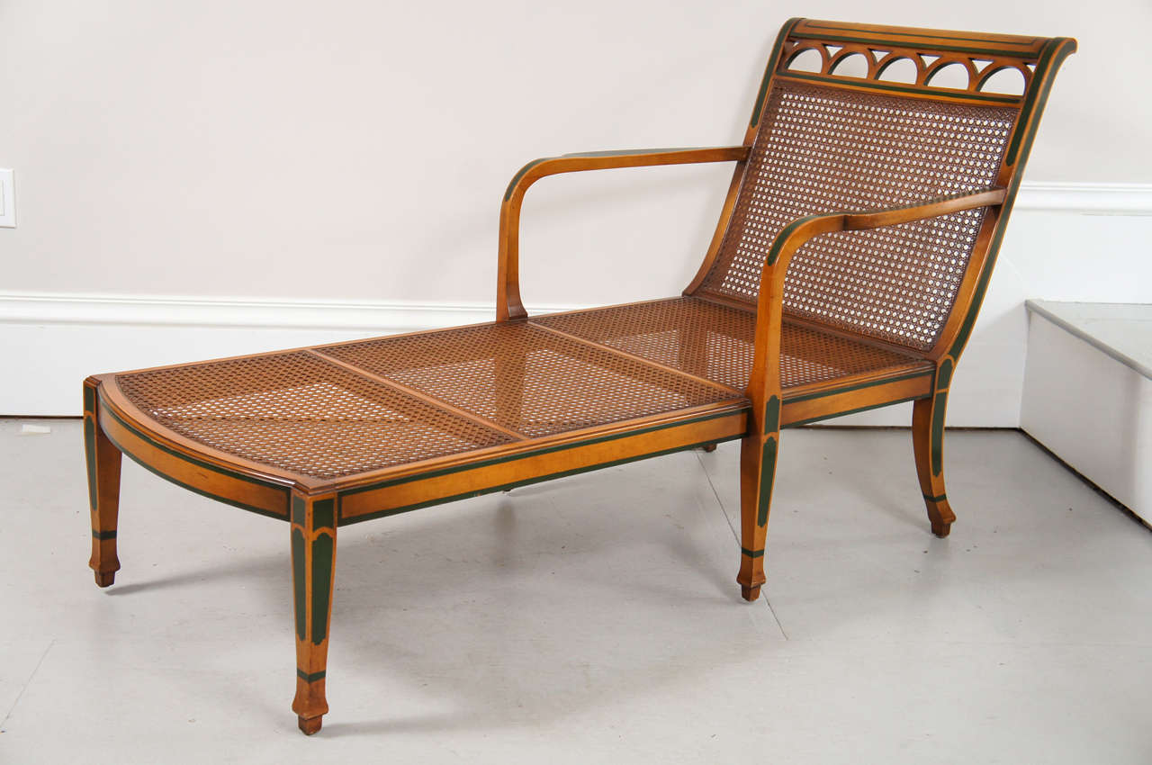 1940 S Decorated Satinwood And Caned Chaise Lounge For