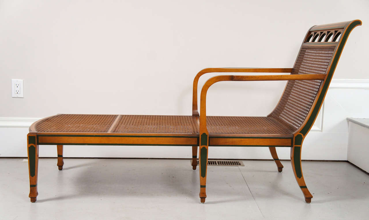1940 39 s decorated satinwood and caned chaise lounge for for Chaise 1940