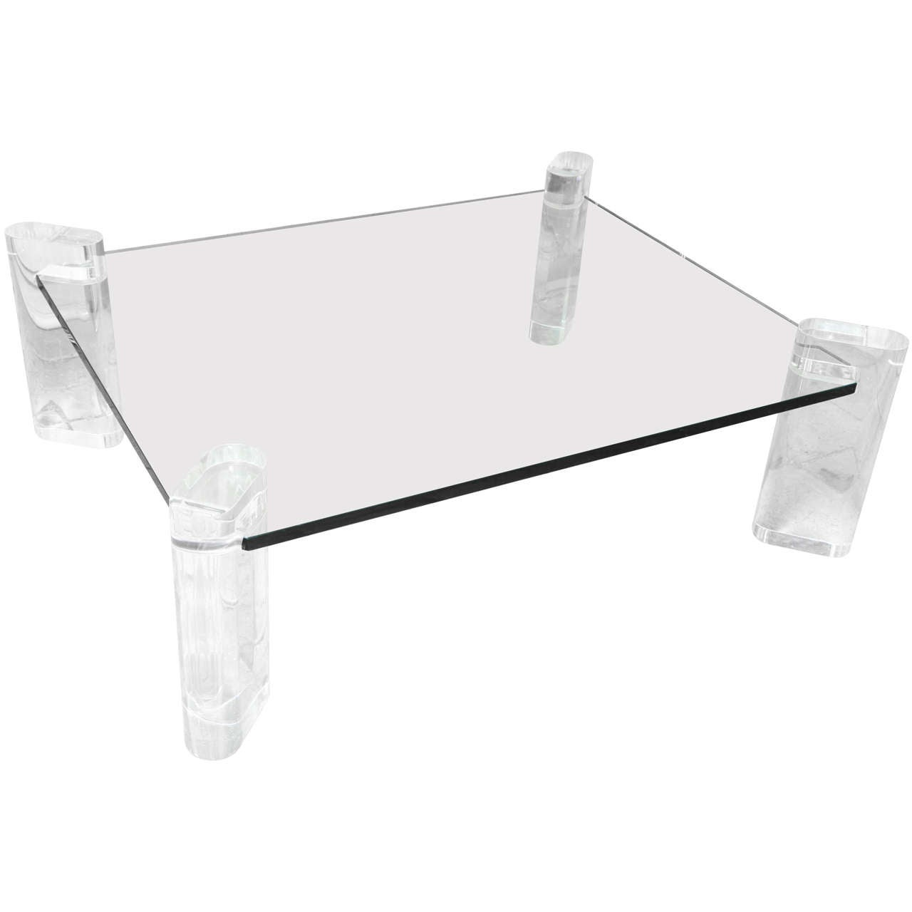 Karl Springer Thick Lucite Leg And Glass Coffee Table At 1stdibs