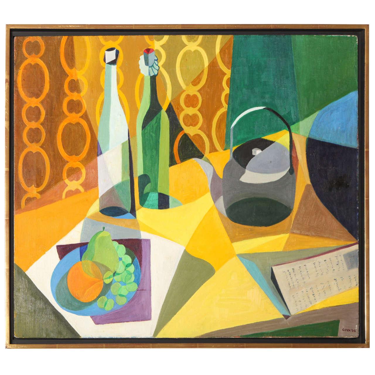 Modernist Still Life, Oil on Canvas by Ginx