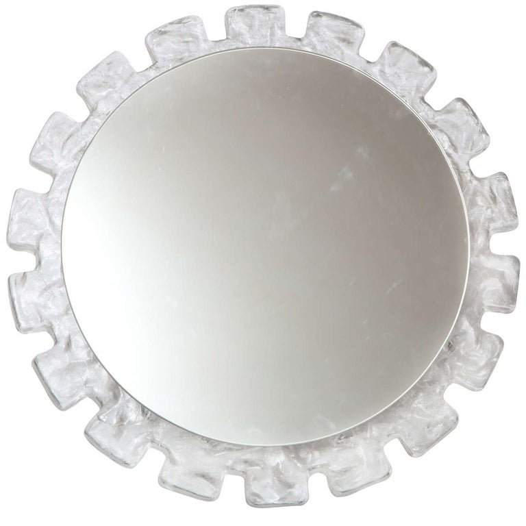 Mid Century Illuminated Round  Mirror with Molded Resin Frame For Sale