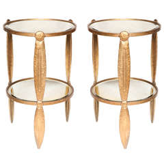 Pair of Art Deco Handhammered Three Legged Mirrored Tables