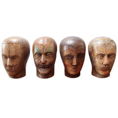 Collection of German Wooden Heads, Circa 1840