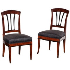 Two Similar 19th Century Viennese Fruitwood and Ebonized Chairs