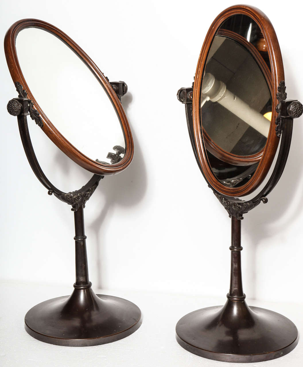 English, Bronze and Wood Miniature Cheval Mirrors