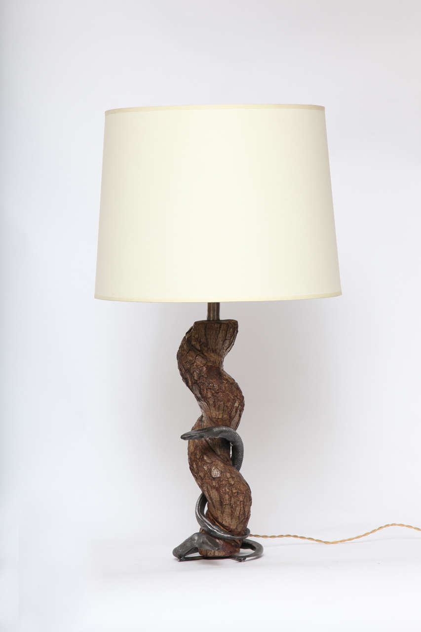 Table lamp sculptural snake wood and wrought iron, France, 1940s New sockets and rewired Shade not included.