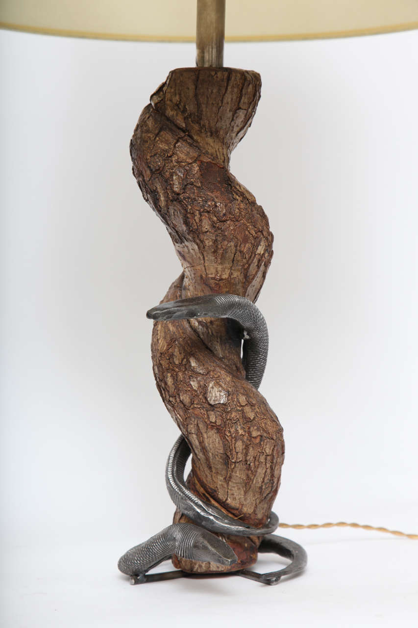 Mid-Century Modern Table Lamp Sculptural Snake Wood and Wrought Iron, France, 1940s For Sale