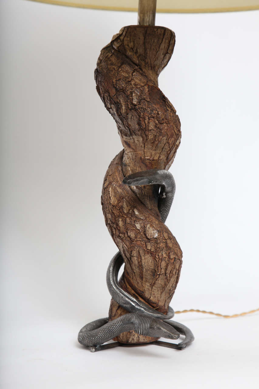 French Table Lamp Sculptural Snake Wood and Wrought Iron, France, 1940s For Sale