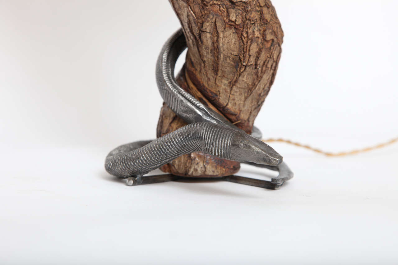 Hand-Carved Table Lamp Sculptural Snake Wood and Wrought Iron, France, 1940s For Sale