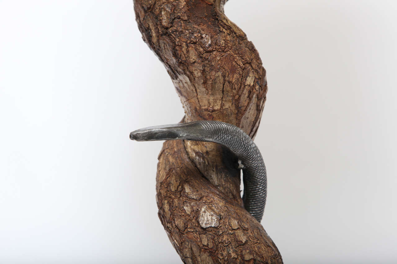 Table Lamp Sculptural Snake Wood and Wrought Iron, France, 1940s In Good Condition For Sale In New York, NY