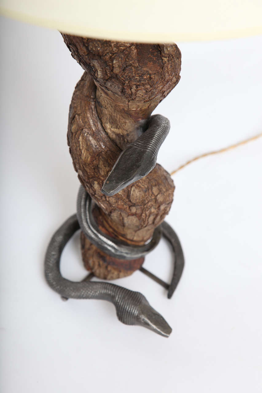 Table Lamp Sculptural Snake Wood and Wrought Iron, France, 1940s For Sale 1