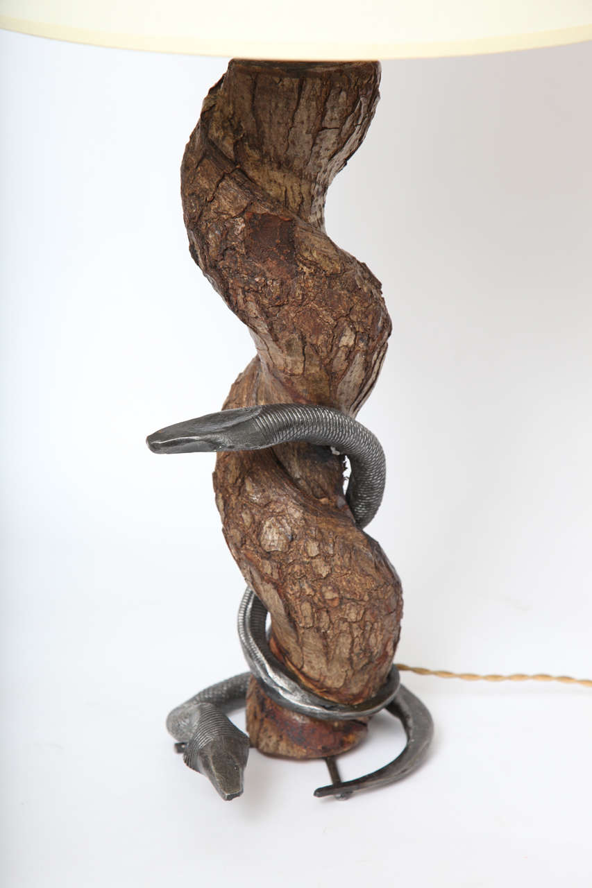 Table Lamp Sculptural Snake Wood and Wrought Iron, France, 1940s For Sale 2