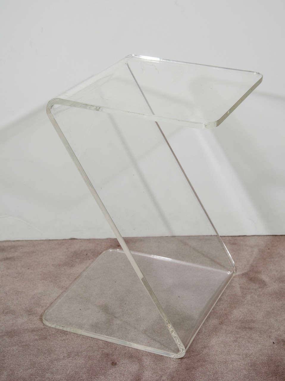 mid century lucite zigzag side table at stdibs - mid century lucite zigzag side table