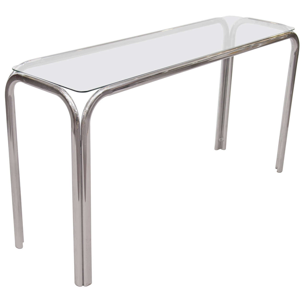 mid century chrome and glass console table at stdibs. mid century chrome and glass console table