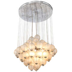 A Mid Century Chandelier With Hanging Murano Glass Balls